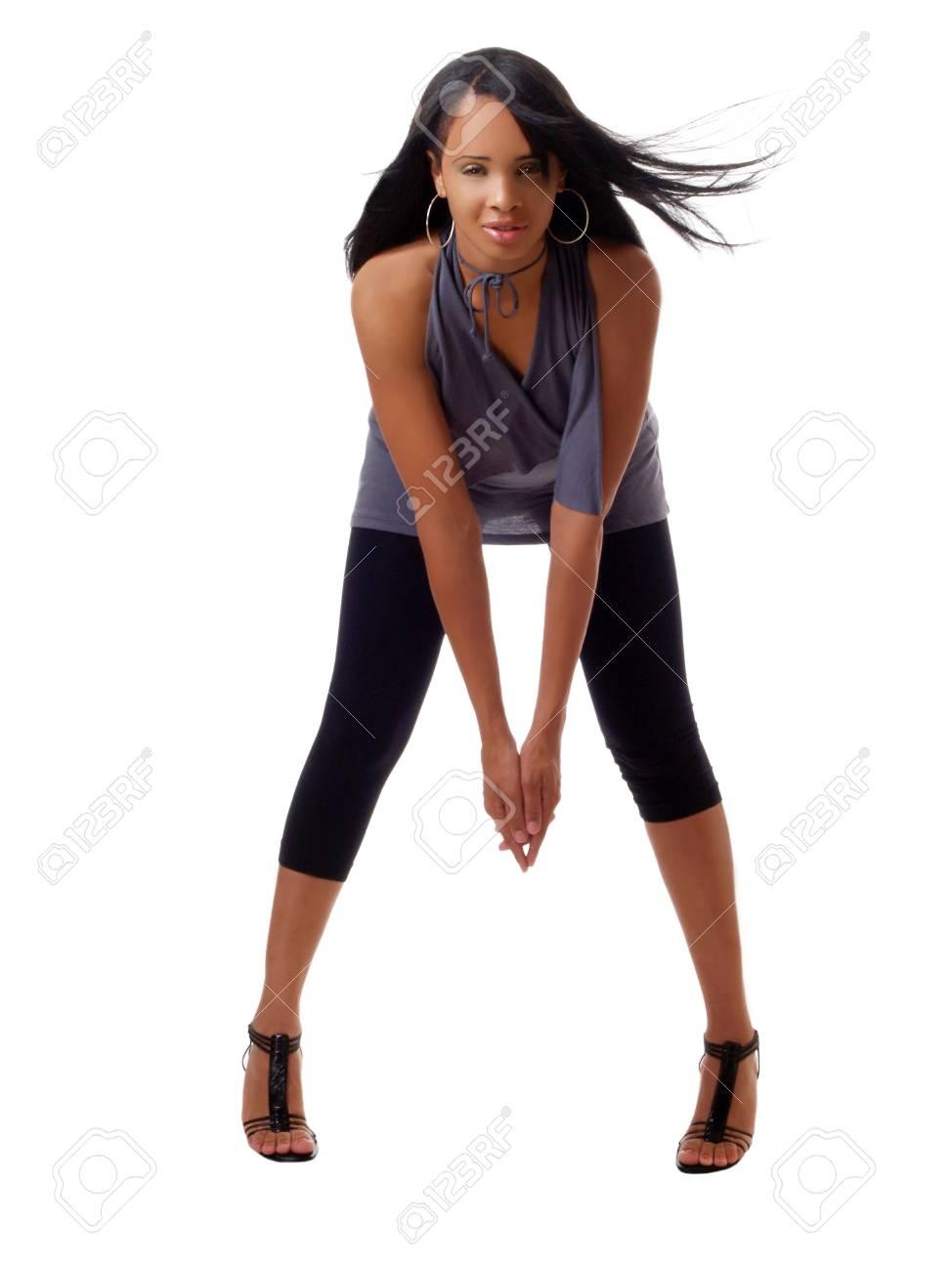Black Women In Leggings : black, women, leggings, Young, Black, Woman, Leggings, Bending, Forward, Stock, Photo,, Picture, Royalty, Image., Image, 3348039.