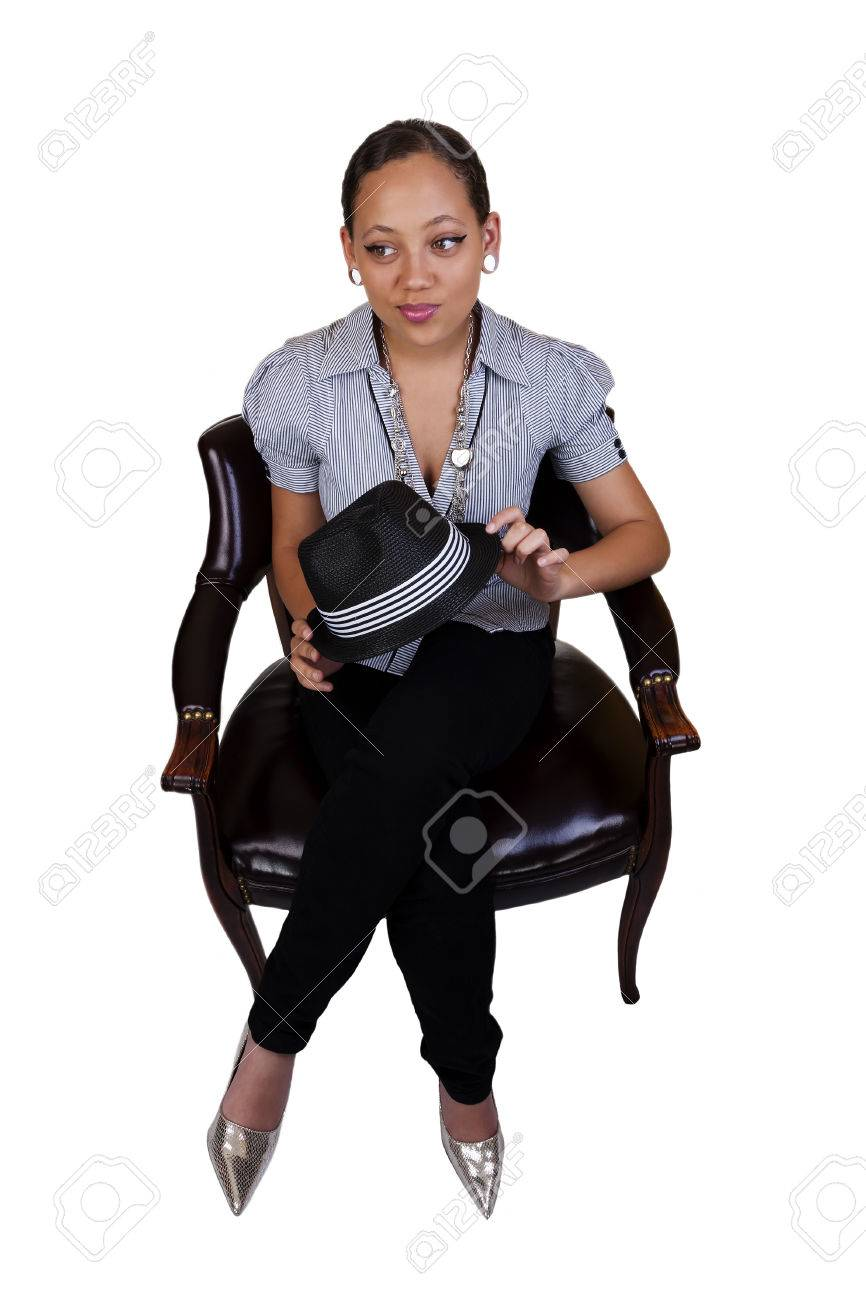 Chair Pants Young Black Woman Sitting On Chair In Pants