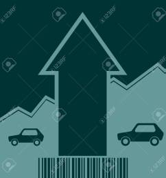 car i icon and rise up arrow growth diagram and bar code vector car i icon [ 1300 x 1300 Pixel ]