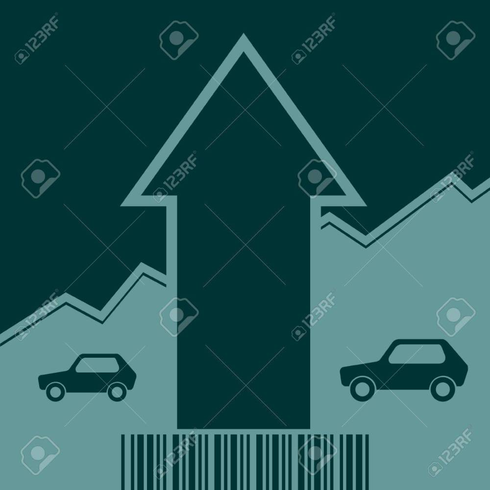 medium resolution of car i icon and rise up arrow growth diagram and bar code vector car i icon
