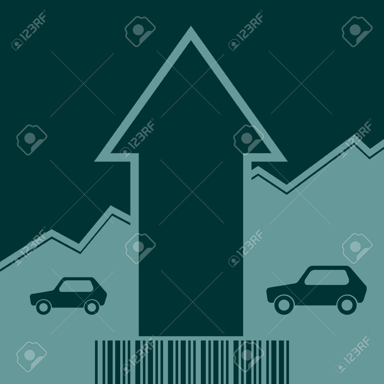 hight resolution of car i icon and rise up arrow growth diagram and bar code vector car i icon