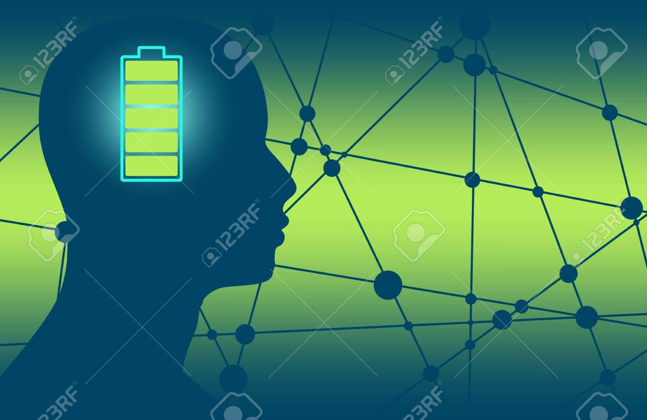 hight resolution of silhouette of a mans head with high full level energy battery icon mental health relative