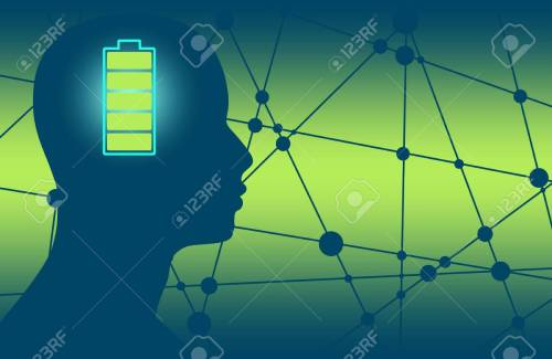 small resolution of silhouette of a mans head with high full level energy battery icon mental health relative