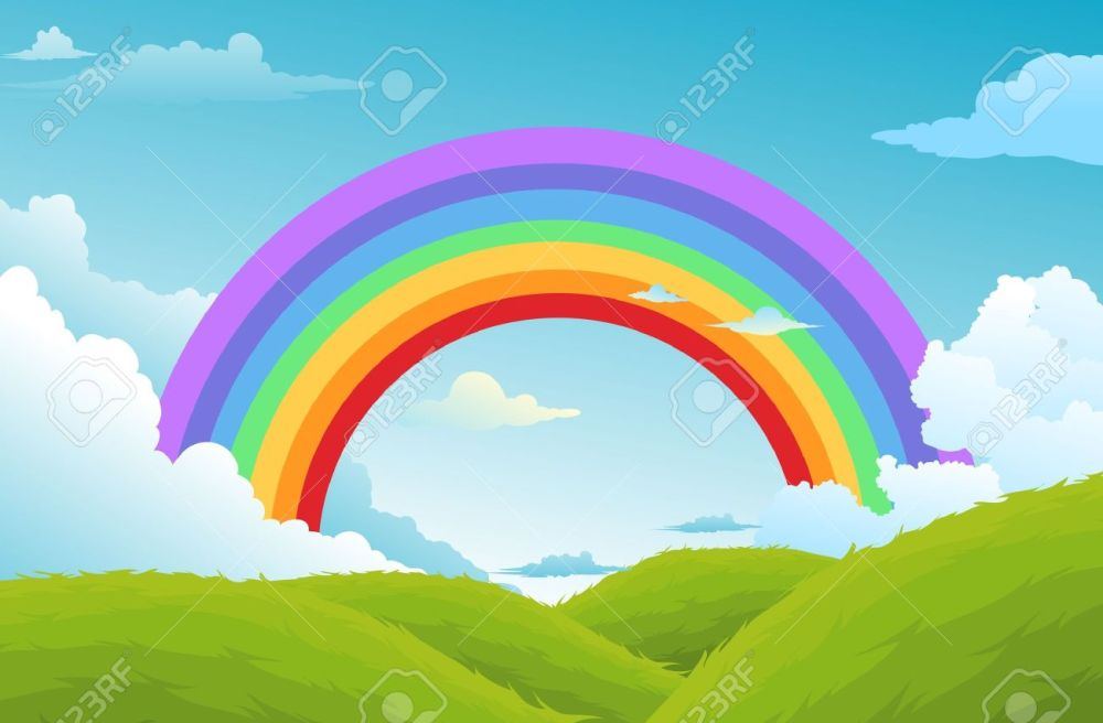 medium resolution of rainbow and clouds in the sky background stock vector 17848368