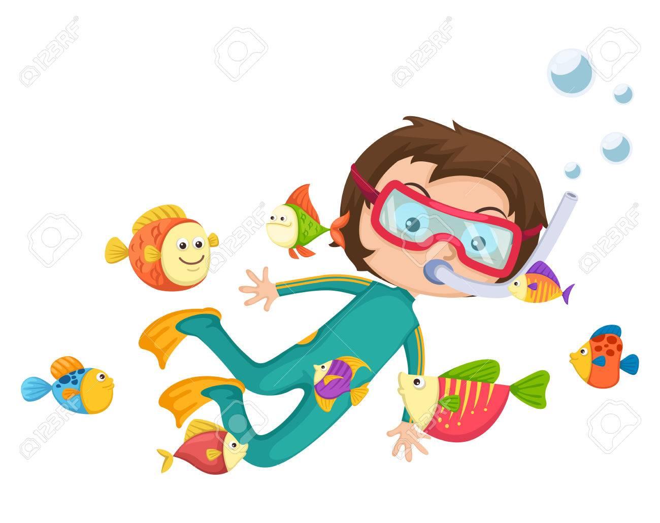 hight resolution of illustration of boy scuba diving vector stock vector 33283029