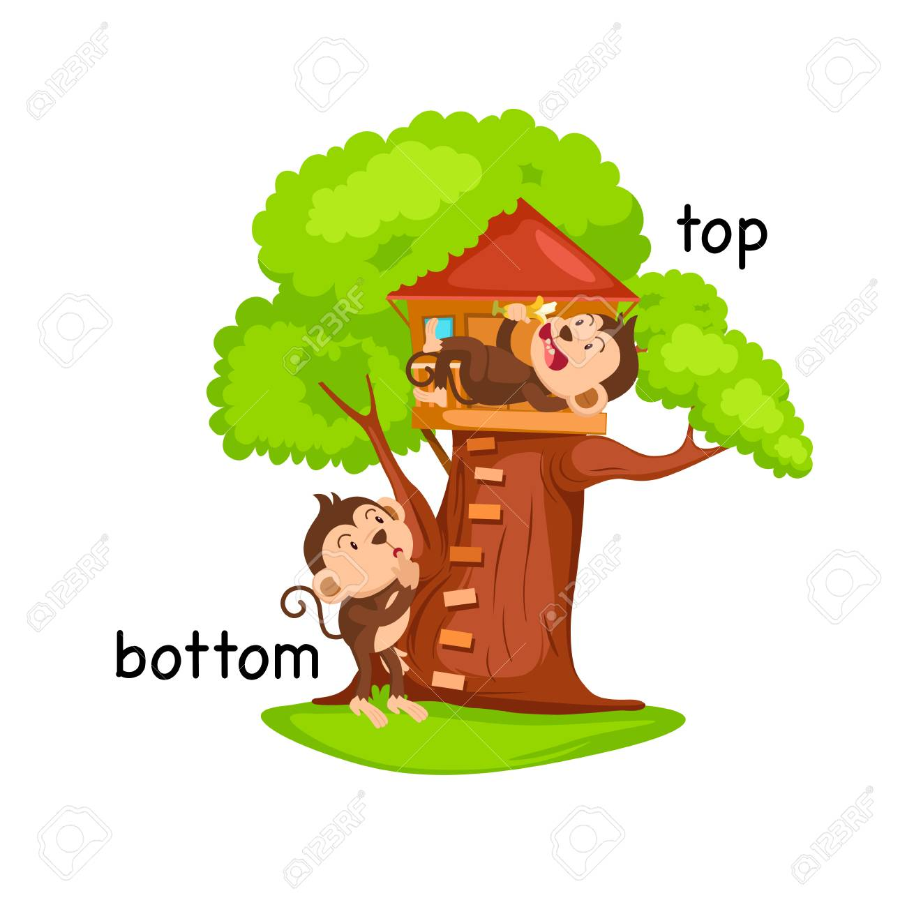 hight resolution of opposite words bottom and top vector illustration stock vector 77682220