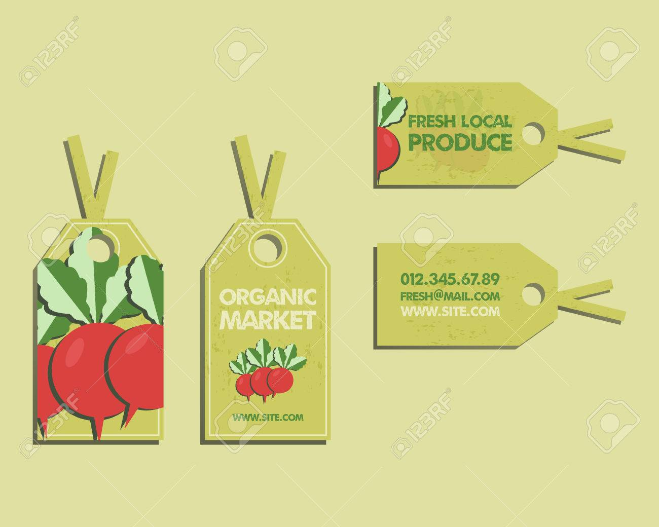 hight resolution of summer farm fresh sticker template or brochure design with radish mock up design with