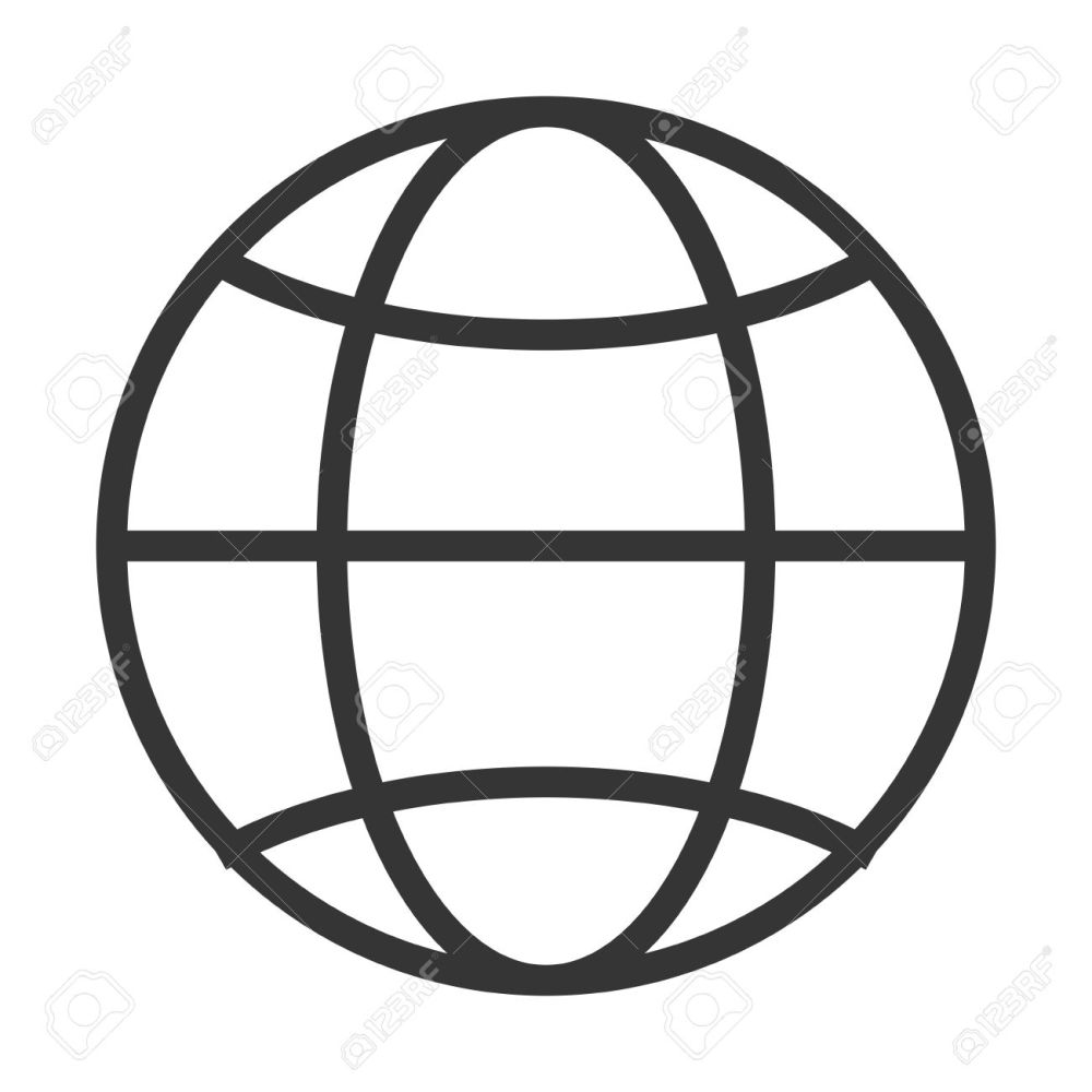 medium resolution of simple globe diagram with latitude lines and meridians vector illustration stock vector 58651410