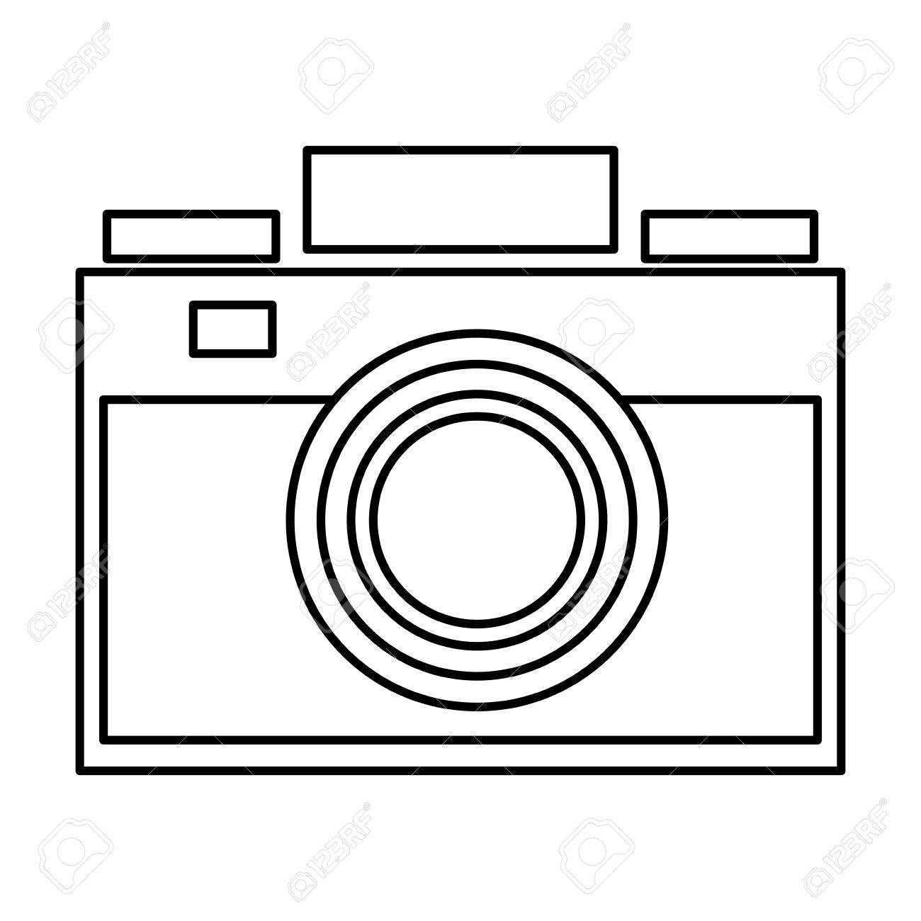hight resolution of simple black line photographic camera vector illustration stock vector 58839955