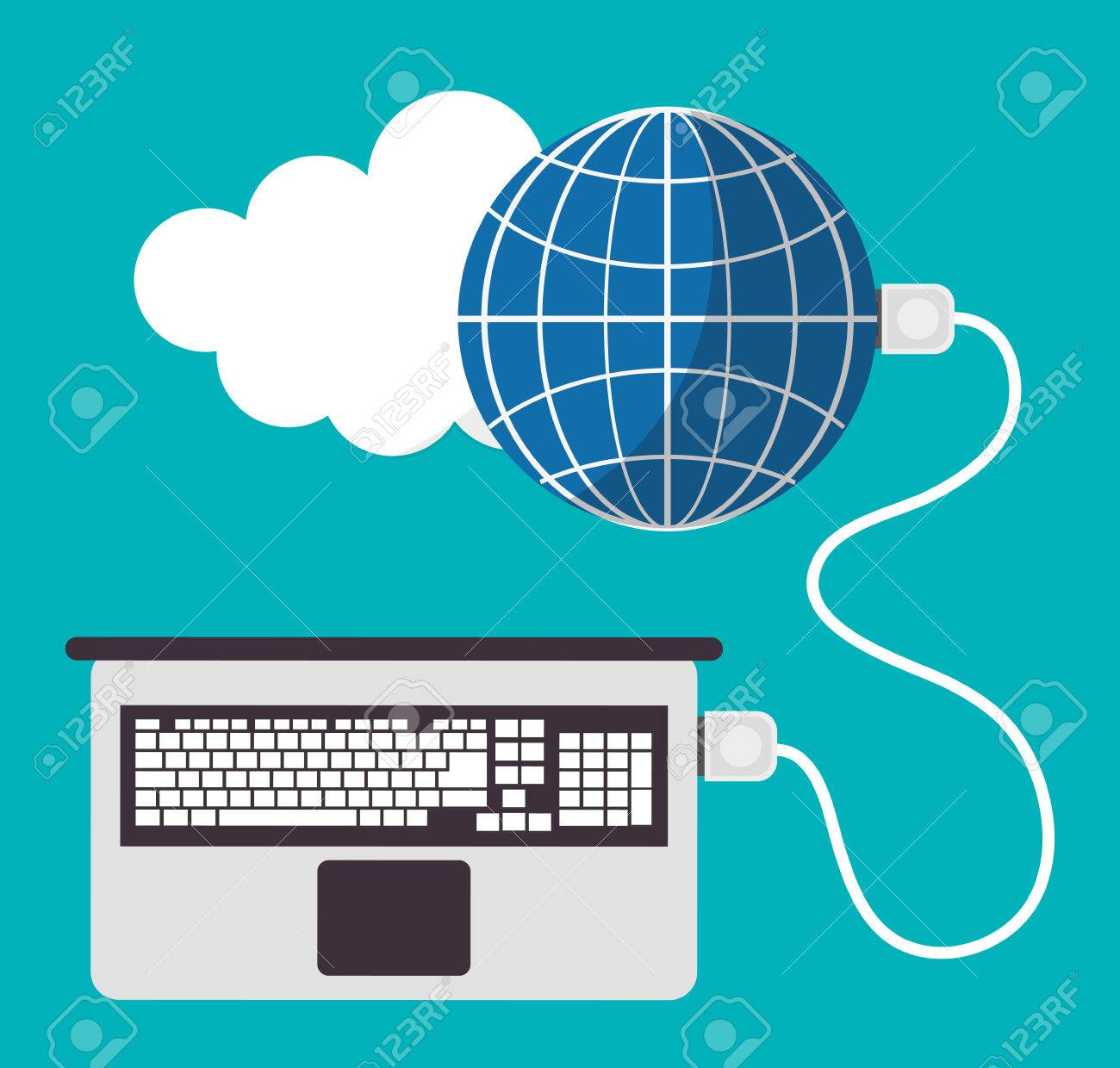 Spreadsheet Laptop Cloud Global Icon. Colorful Design. Vector ...