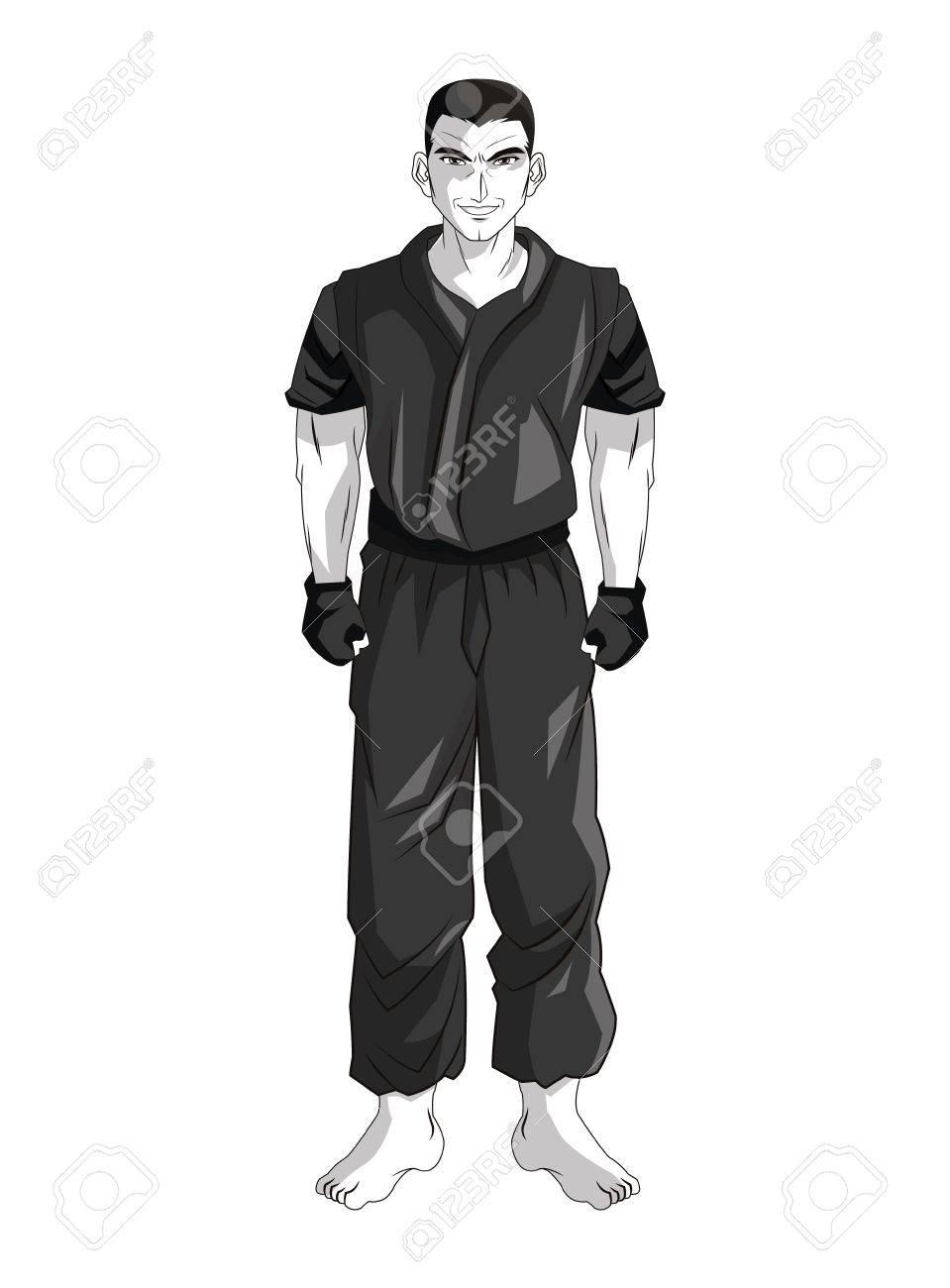 homme jeune garcon anime manga bande dessinee comique combat icone blanc gris noir et design isole vector illustration