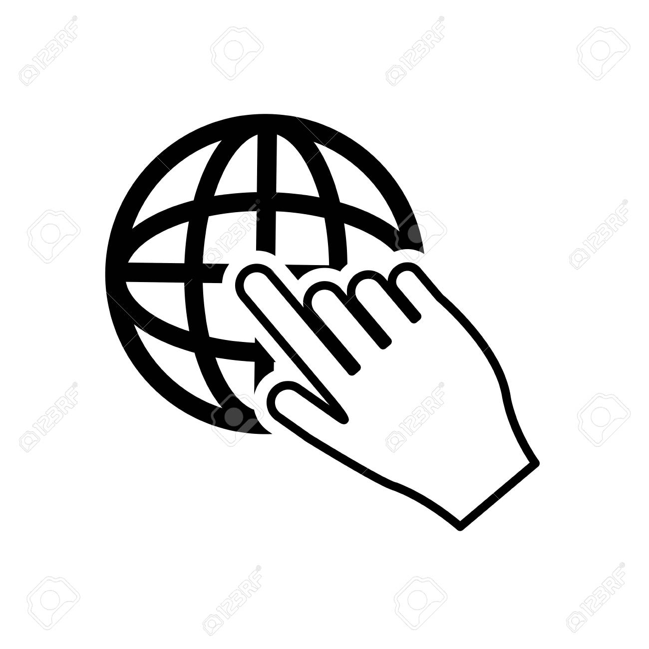 hight resolution of flat design earth globe diagram and hand pointer icon vector illustration stock vector 62297820