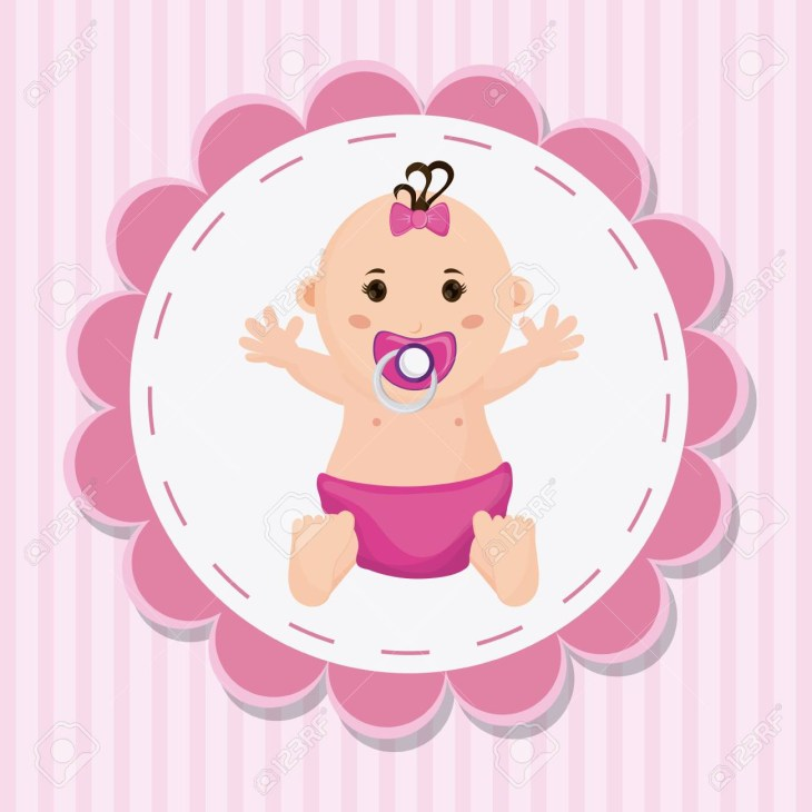 Baby girl cartoon inside seal stamp. Baby shower and childhood theme.  Colorful design.