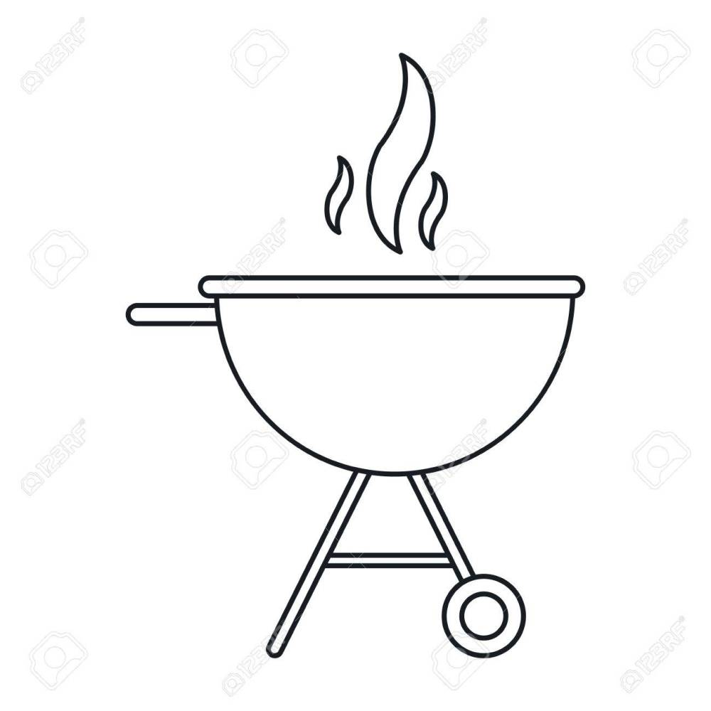 medium resolution of bbq grill party american football outline vector illustration stock vector 68817824