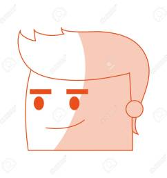 red silhouette image side view face cartoon guy with expression of satisfaction vector illustration stock vector [ 1300 x 1300 Pixel ]