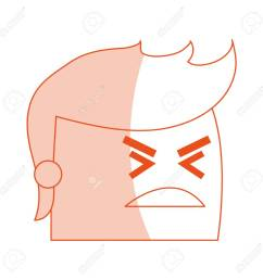 red silhouette image side view face cartoon man with angry expression vector illustration stock vector  [ 1300 x 1300 Pixel ]
