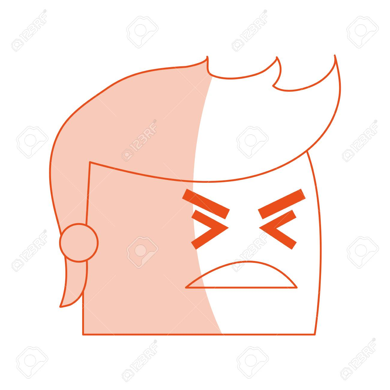 hight resolution of red silhouette image side view face cartoon man with angry expression vector illustration stock vector