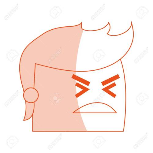 small resolution of red silhouette image side view face cartoon man with angry expression vector illustration stock vector
