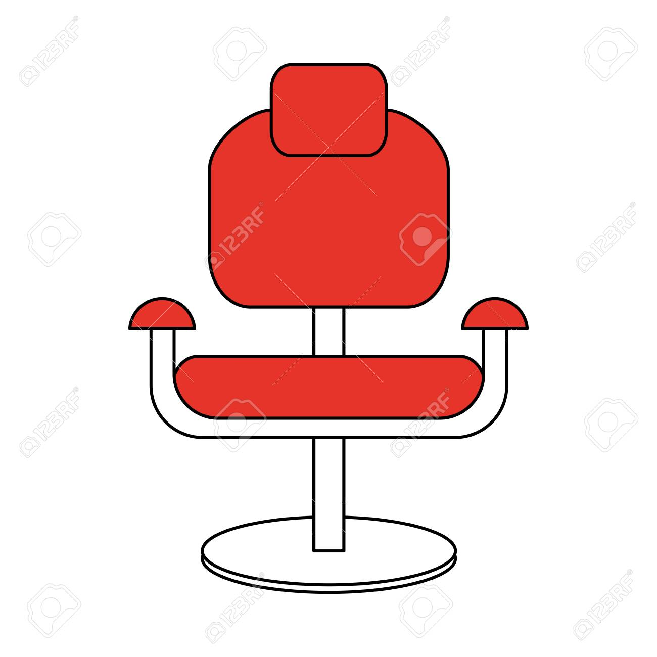 Red Desk Chair Color Silhouette Cartoon Comfortable Red Desk Chair Vector Illustration