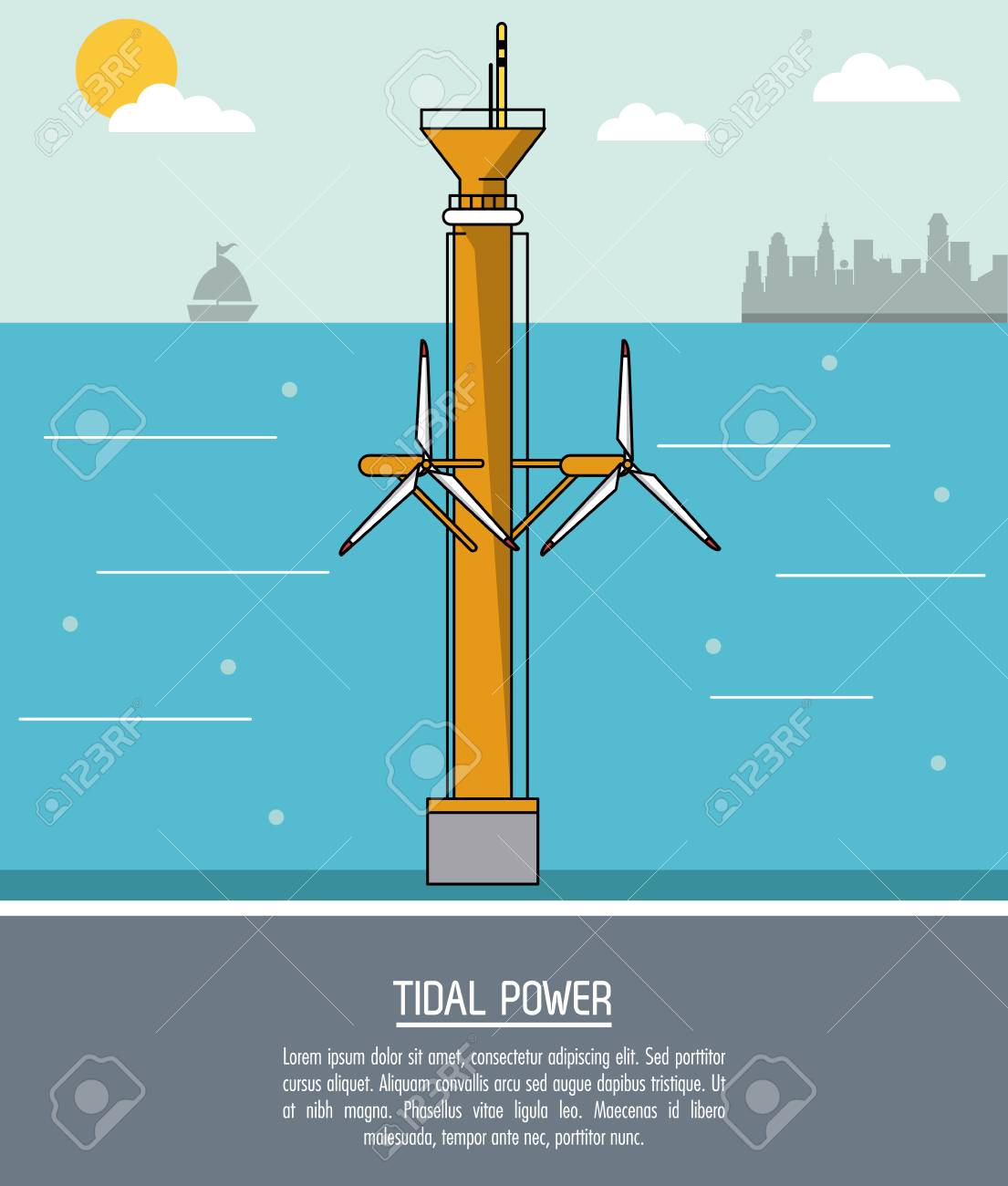 hight resolution of color sea landscape background tidal power plant with turbines vector illustration stock vector 78851213