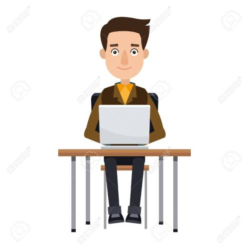 small resolution of cartoon young man working laptop sitting image vector illustration stock vector 80238840