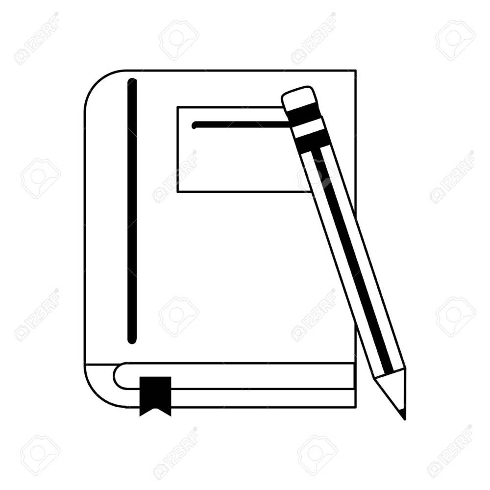 medium resolution of book with pencil icon image vector illustration design black and white stock vector 81273014