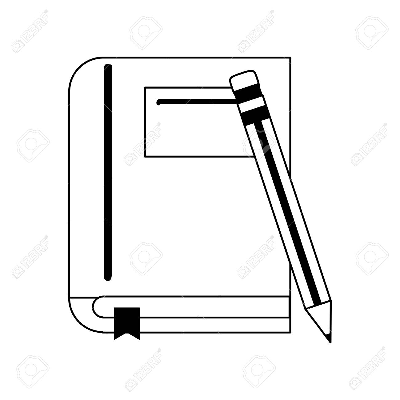 hight resolution of book with pencil icon image vector illustration design black and white stock vector 81273014