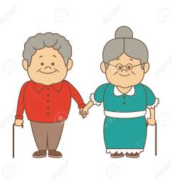 happy grandparents holding hands grandpa and grandma standing with walking stick vector illustration stock vector  [ 1300 x 1300 Pixel ]