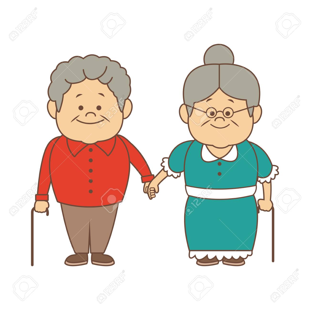 hight resolution of happy grandparents holding hands grandpa and grandma standing with walking stick vector illustration stock vector