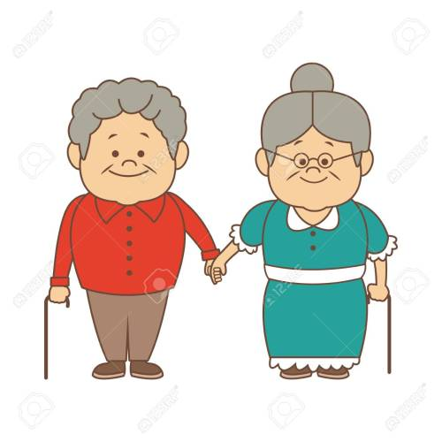 small resolution of happy grandparents holding hands grandpa and grandma standing with walking stick vector illustration stock vector