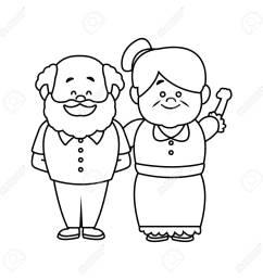 happy grandpa and grandma parents standing together vecto illustration stock vector 82261992 [ 1300 x 1300 Pixel ]