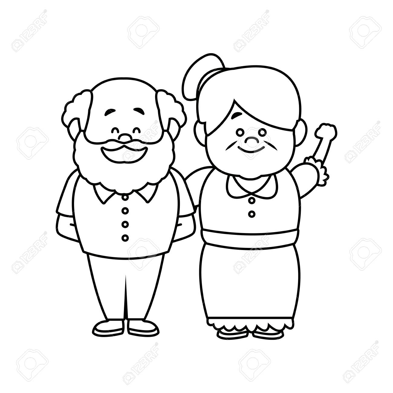 hight resolution of happy grandpa and grandma parents standing together vecto illustration stock vector 82261992