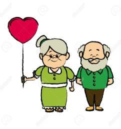 grandparents holding hands grandpa and grandma standing vector illustration stock vector 82263552 [ 1300 x 1300 Pixel ]