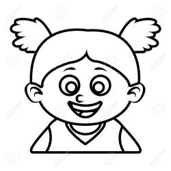 Cute Girl Face Clipart Black And White