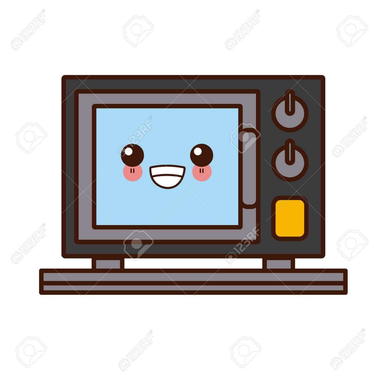 microwave kitchen appliance cute kawaii cartoon
