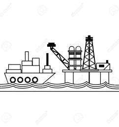 petroleum refinery pump in the sea and freighter ship vector illustration graphic design stock vector  [ 1300 x 1300 Pixel ]