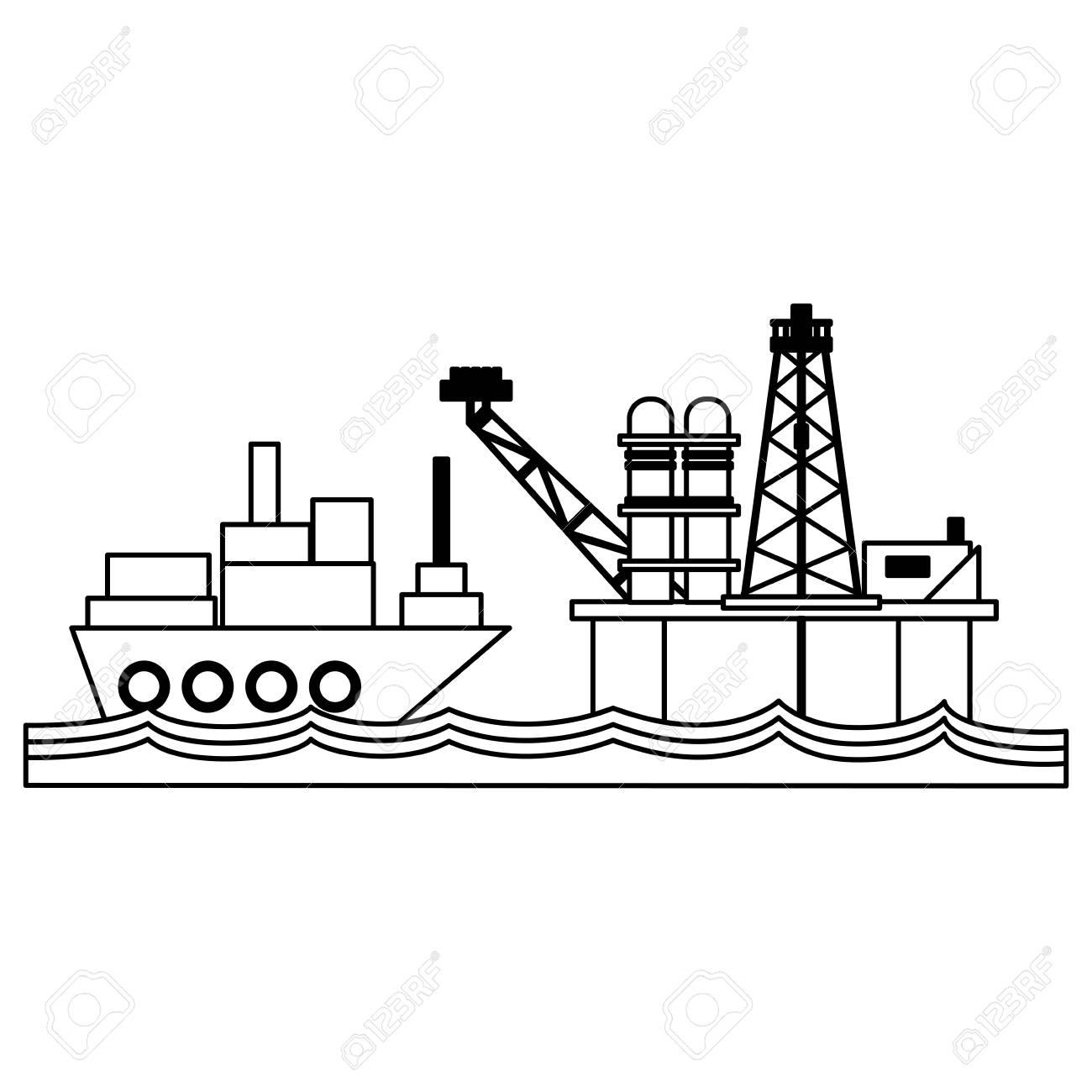 hight resolution of petroleum refinery pump in the sea and freighter ship vector illustration graphic design stock vector