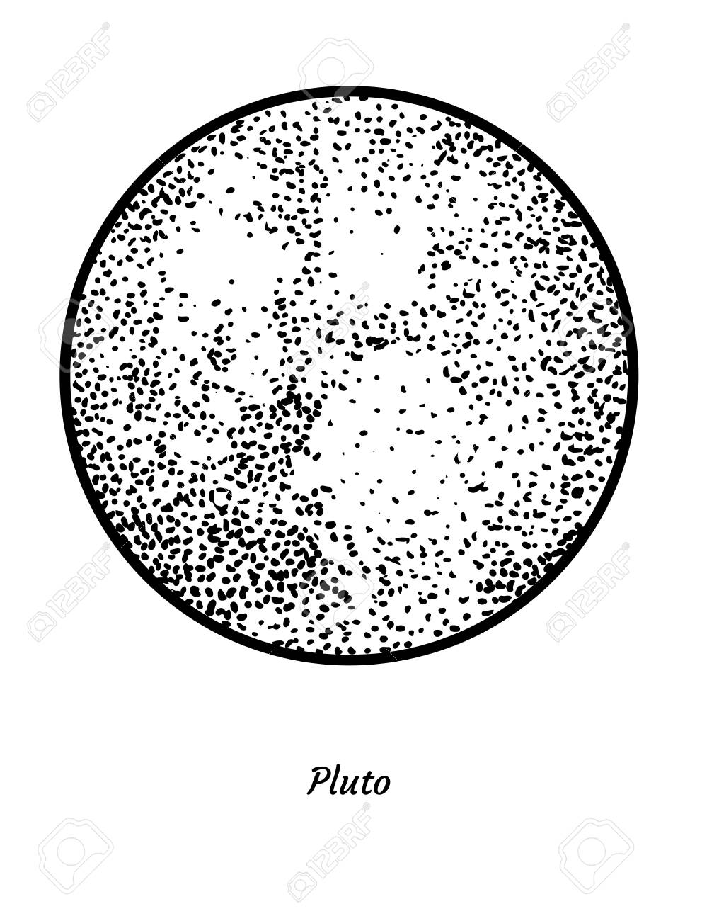 How To Draw Pluto The Planet : pluto, planet, Pluto, Planet, Illustration, Drawing, Engraving, Vector, Royalty, Cliparts,, Vectors,, Stock, Illustration., Image, 115419439.