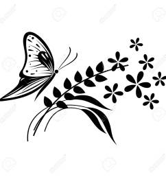 vector vector illustration of insect black and white butterfly flowers and branches with leaves isolated on the white background [ 1300 x 1300 Pixel ]
