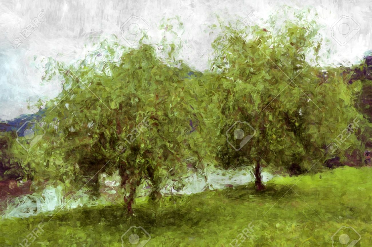 two tree painting my