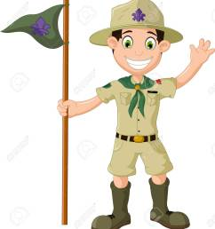cute boy scout cartoon holding pole yelling stock vector 65860604 [ 1177 x 1300 Pixel ]