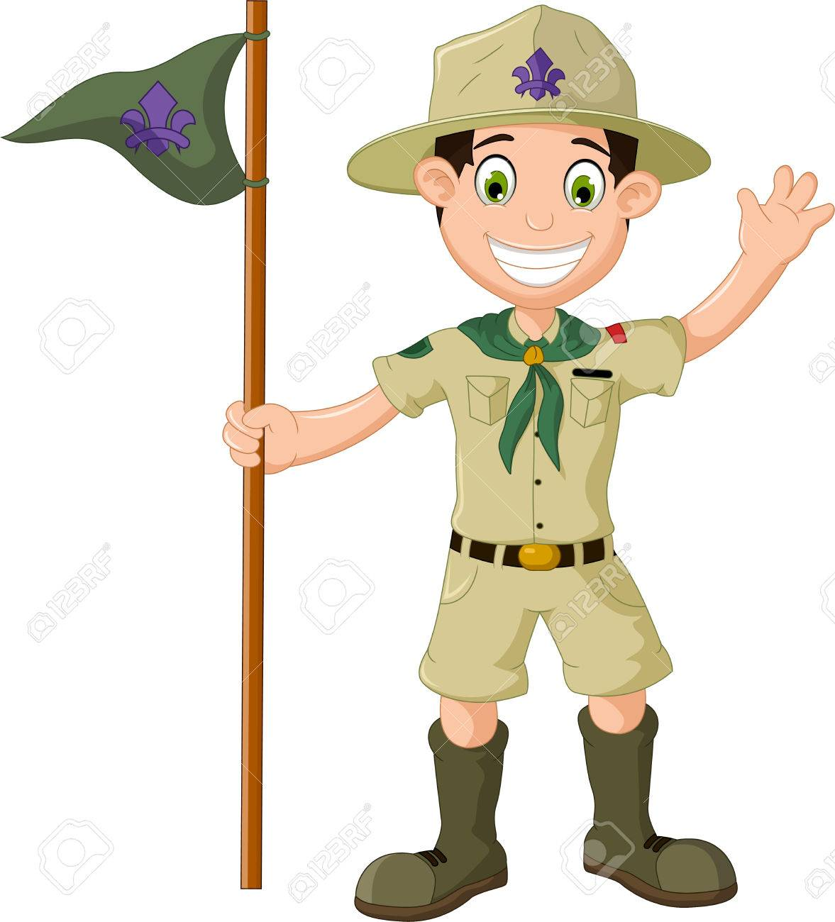 hight resolution of cute boy scout cartoon holding pole yelling stock vector 65860604