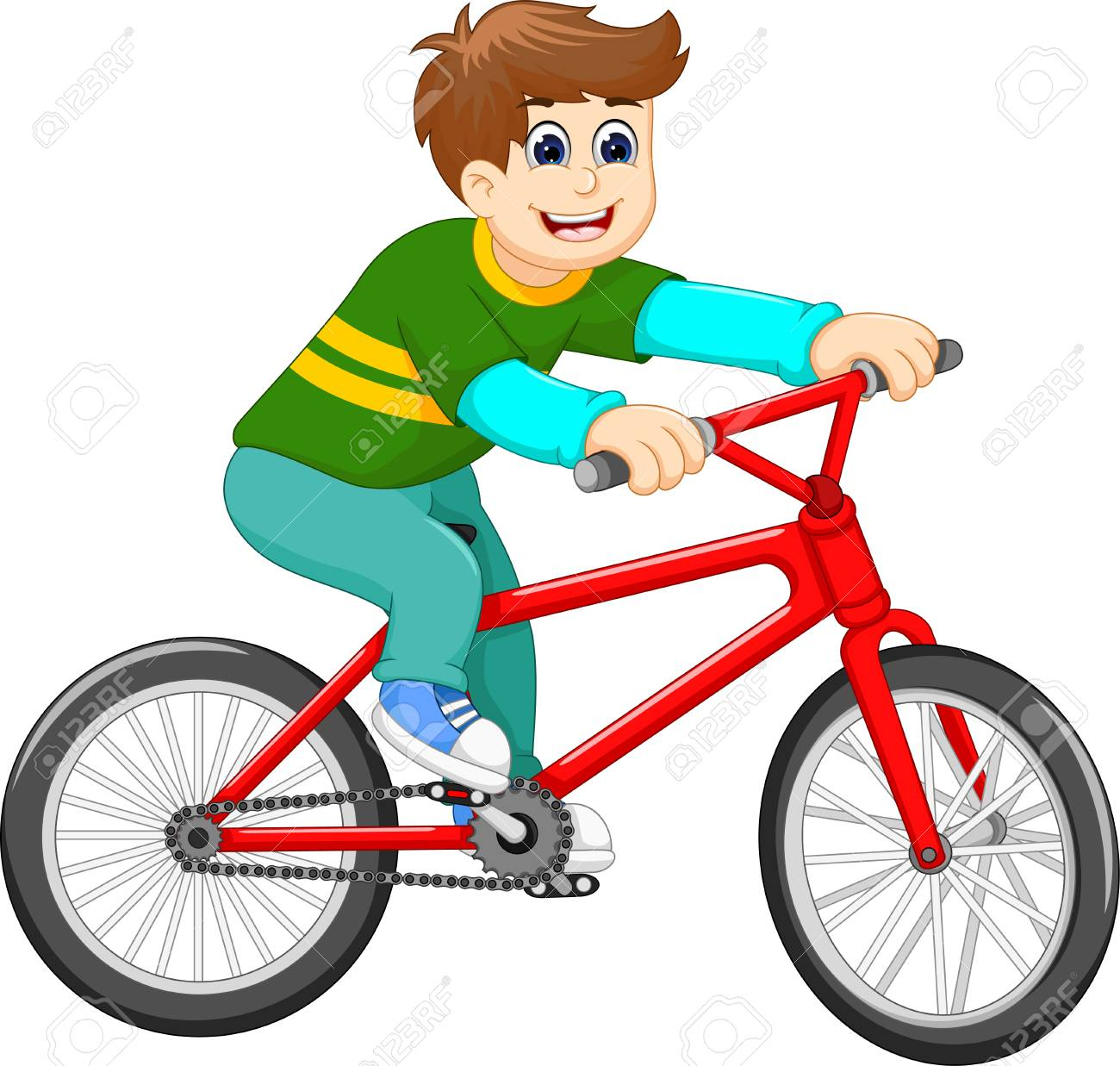 funny boy riding bicycle