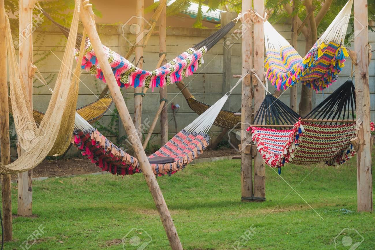 colorful of handmade hammock