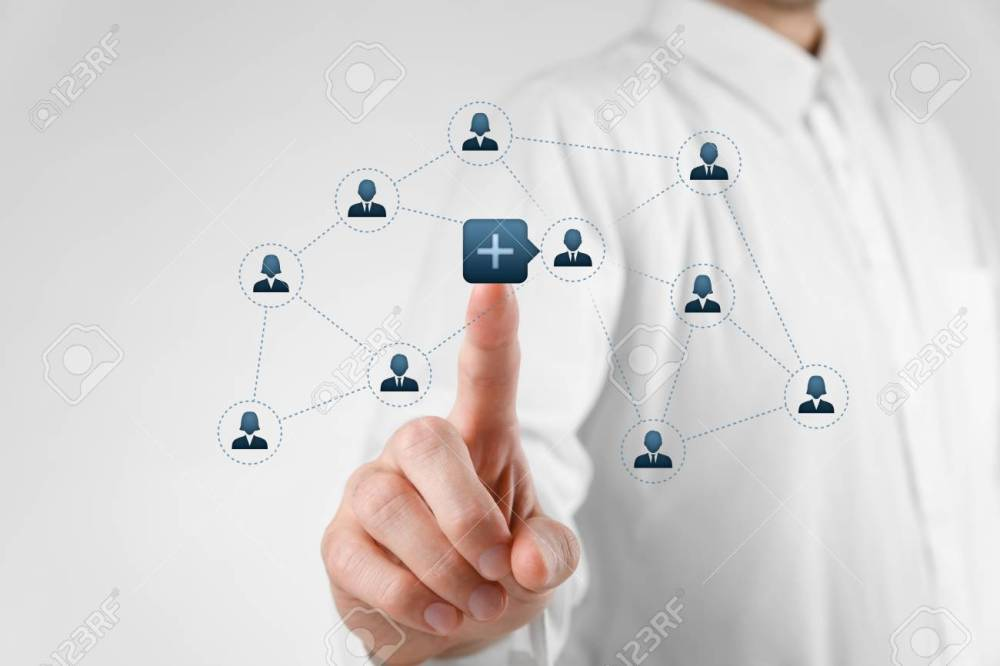 medium resolution of man click on plus button to connect new person with community stock photo 26005395