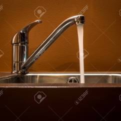 Open Kitchen Sink Refinishing Ideas Tap Left On The Stock Photo Picture And Royalty