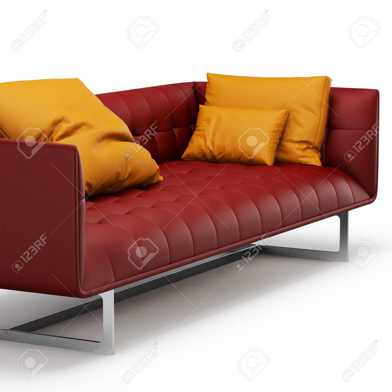 Red Leather Sofa With Orange Pillows On A White Background 3d Stock Photo Picture And Royalty Free Image Image 117423878
