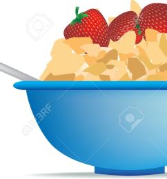 breakfast cereal of strawberry and cornflakes in bowl stock vector 5565818 [ 1300 x 710 Pixel ]