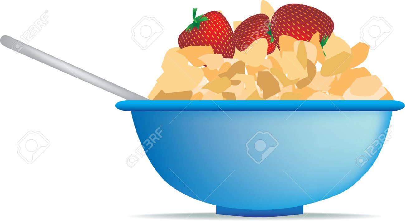 hight resolution of breakfast cereal of strawberry and cornflakes in bowl stock vector 5565818