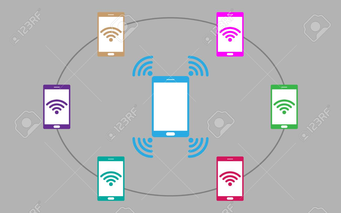 hight resolution of smartphone sharing wifi hotspot to other devices vector illustration stock vector 109979387